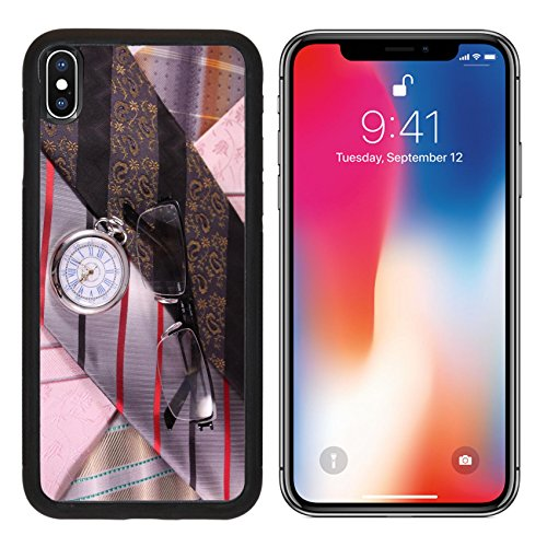 MSD Premium Apple iPhone X Aluminum Backplate Bumper Snap Case Multicolored ties vintage watches and glasses IMAGE 24611448 (Silk Tie Watch)