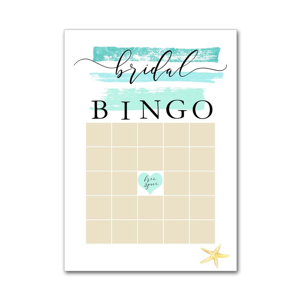 Bingo Game Cards for Bridal Wedding Showers with Watercolor Aqua Ocean Starfish Beach BBG8045