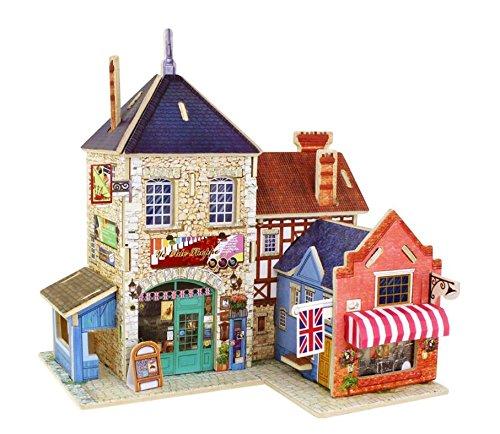 Emousport 3D Wood Puzzle DIY Model Kids Toy British Musical Instrument Store House Puzzle,puzzle 3d building,wooden puzzles Kids Hand Worker