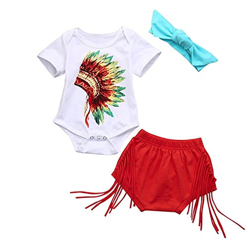 Newborn Infant Fashion Outfits Set Baby Girls Boys Indian Print Romper Shorts Headband Clothes Set 3Pcs (White, 0-6 Months) - Princess Head Indian