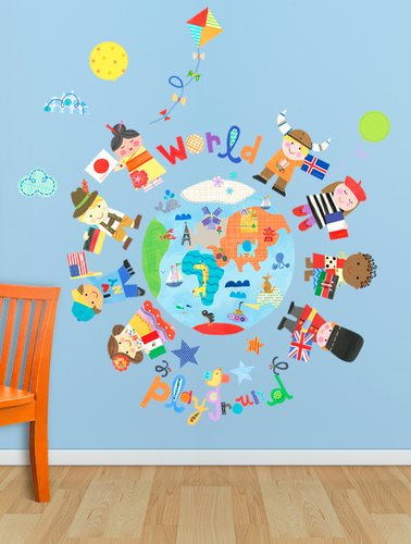 Oopsy Daisy The World Is Your Playground Peel and Place, Blue, 54'' x 60''