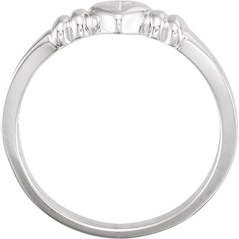 Ring Size Options 4 5 6 7 8 Sterling Silver Heart With Cross Ring