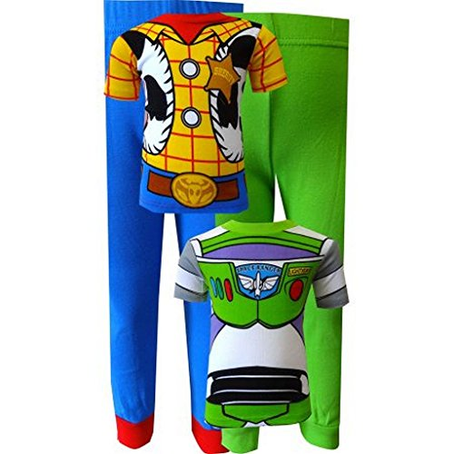 TOY STORY Boy's Size 8 4-Piece Buzz Lightyear and Woody Costume Graphic Pajama Sets (2)
