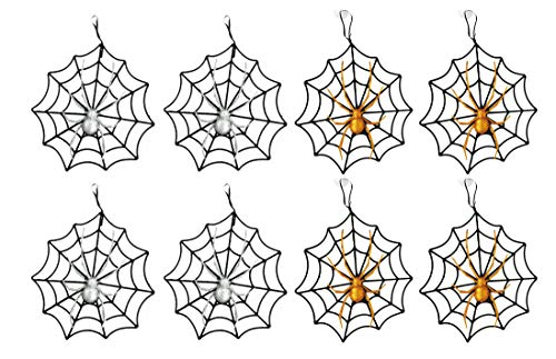 Black Duck Brand Set of 8 Halloween Webs with Glitter Spiders! Hanging 10