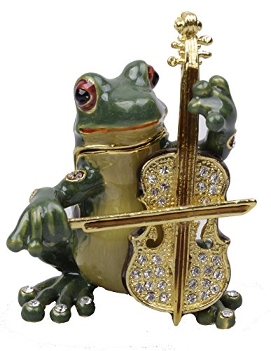 Jeweled Enamel Frog Box (New Frog Trinket Box Beautiful Jeweled Pewter Frog Jewelry Box (Cellos))