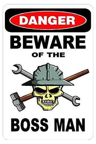 Danger Beware Of The Boss Manハード帽子ステッカーツールボックスバンパーステッカーfor any滑らか – バンパーウィンドウ壁ステッカー B075YDY34D