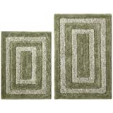 Superior Cotton Craft   2 Piece Bath Rug Set   Tweed Race Track   Sage Ivory   100%  Pure Cotton With Spray Latex Back And Absorbent   Super Soft And Plush    Hand ...