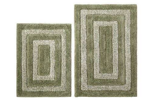 cotton-craft-2-piece-bath-rug-set-tweed-race-track-sage-ivory-100-pure-cotton-with-spray-latex-back-