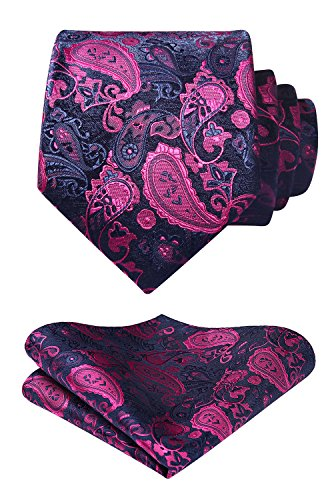 Enmain Paisley Floral Jacquard Woven Men's Wedding Silk Tie Pocket Square Necktie Set Pink/Navy (Pink Silk Neck Tie)