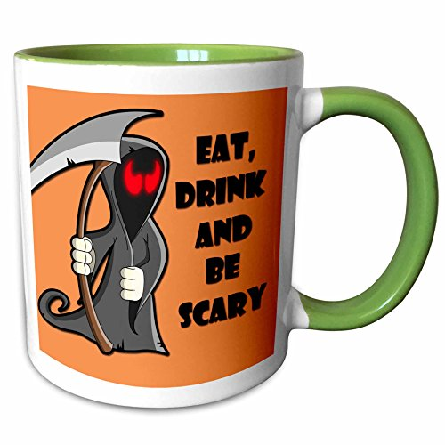 3dRose RinaPiro - Halloween Quotes - Eat, drink and be scary. Halloween funny quotes. Popular saying. - 15oz Two-Tone Green Mug (mug_218445_12)]()
