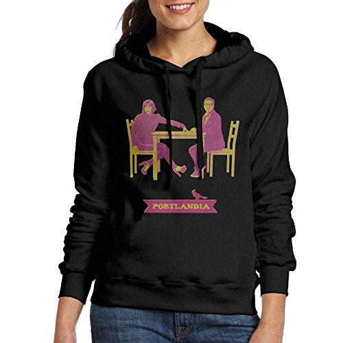 FUOCGH Women's Pullover Portlandia Hooded Sweatshirt Black XXL