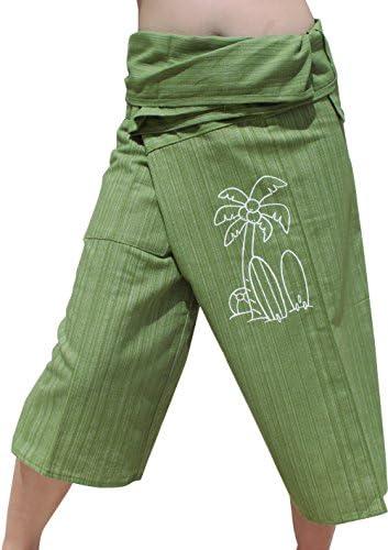 Raan Pah Muang RaanPahMuang Striped Cotton Two Tone Ball Print Fisherman Wrap Pants