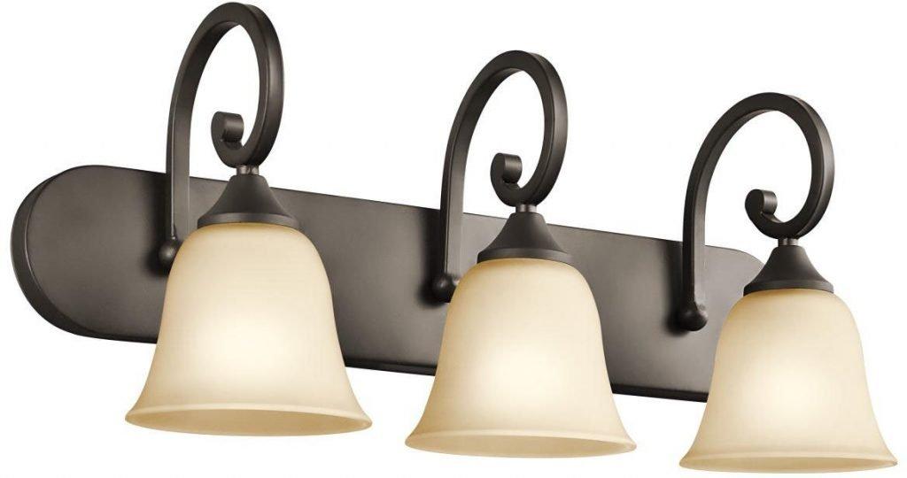 Kichler Lighting 45475OZ Feville 3-Light Vanity Fixture, Olde Bronze Finish with Light Umber Etched Glass