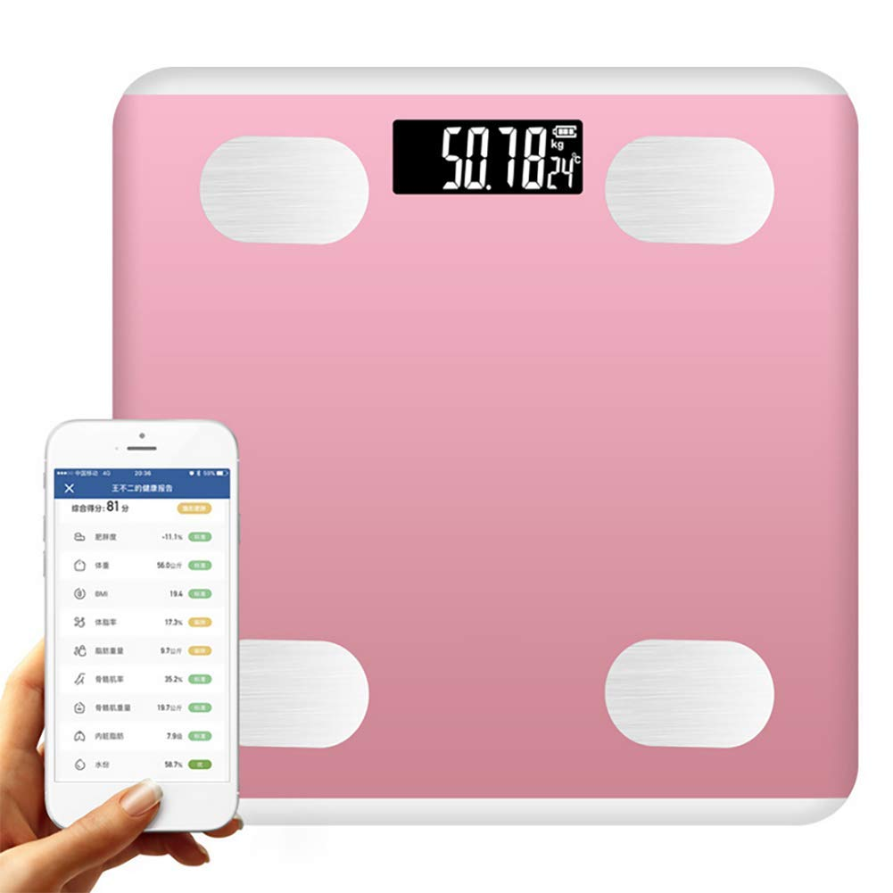 Smart Scale Digital Bluetooth Body Fat Scale Bathroom Wireless Weight Scale, G-shaped sensor, Body Composition Analyzer With Smartphone Lcd Display, 180kg, 28 26cm,Pink