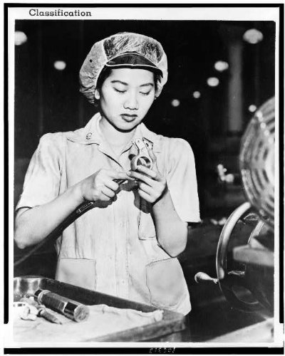 Photo: Wong Ruth Mae Moy,Chinese girl,survived,Canton bombing,aircraft engine part,1943