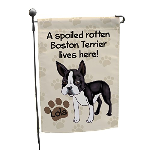 GiftsForYouNow Personalized Boston Terrier Spoiled Here Double Sided Garden Flag, Polyester ()