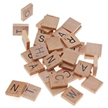 BeadaholiqueCA 100-Piece Wood Scrabble  Rectangle  Tile Pendant, 18 by 20mm