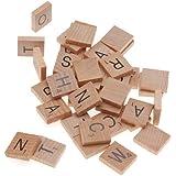 BeadaholiqueCA 100-Piece Wood Scrabble  Rectangle  Tile Pendant, 18 by 20mm