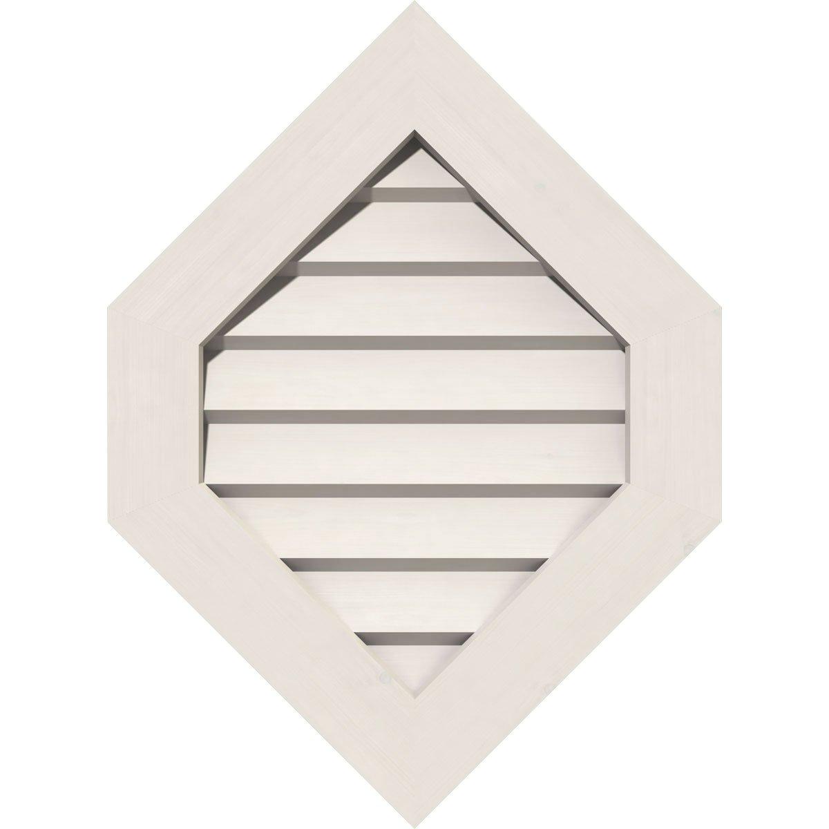 Ekena Millwork GVPVP12X1601DUN-09 Pvc Gable Vent, 12'' W x 16'' H (17'' W x 21'' H Frame Size) 9/12 Pitch, White
