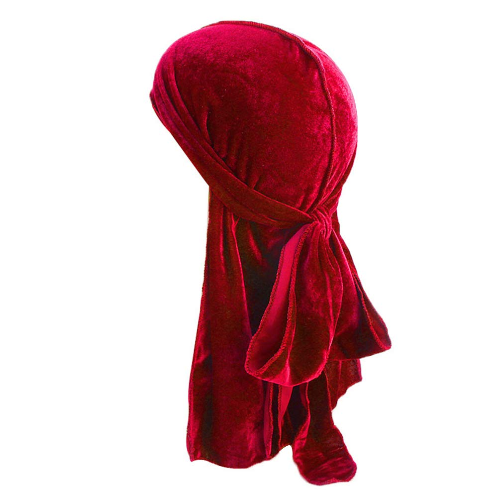 3PCS Silky Durags /& 3PCS Velvet Durags Long Tail and Wide Straps Headwraps Durag Pack for 360 Waves