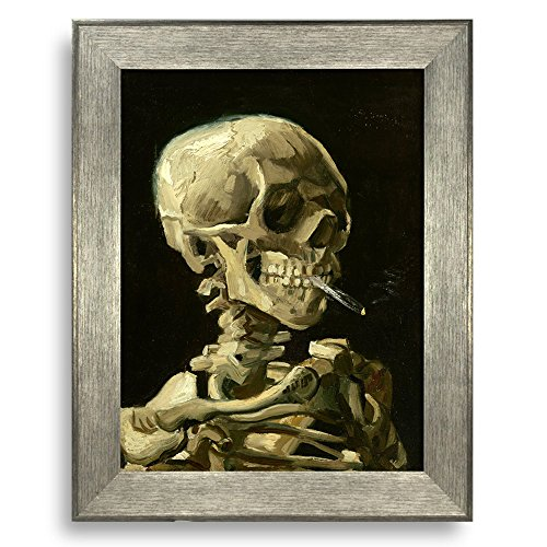 Head of a Skeleton with a Burning Cigarette by Vincent Van Gogh Framed Art Print Famous Painting Wall Decor Silver Frame