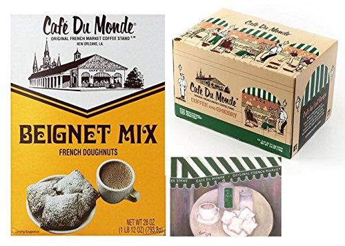 Cafe Du Monde Coffee and Chicory Single-Serve K-Cup Pods,12 Count, Bundled with Cafe Du Monde Beignet Mix, 28 oz box, and a Cafe Du Monde 5 x 7 print (Best Place To Get Benyas In New Orleans)