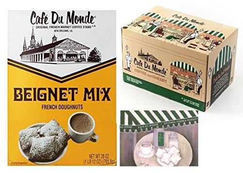 Cafe Du Monde Coffee and Chicory Single-Serve K-Cup Pods,12 Count, Bundled with Cafe Du Monde Beignet Mix, 28 oz box, and a Cafe Du Monde 5 x 7 print
