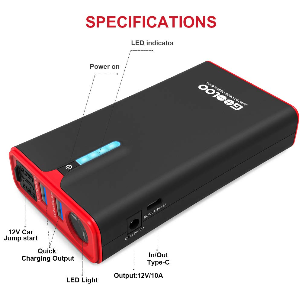 Up to 8.0L Gas or 6.0L Diesel Engine GOOLOO 1200A Peak SuperSafe Car Jump Starter with USB Quick Charge 3.0 12V Portable Power Pack Auto Battery Booster Phone Charger Built-in LED Light