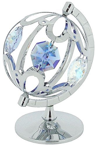 Crystocraft Around the World Globe Freestanding Silver Plated Ornament made with Swarovski (Swarovski Globe)