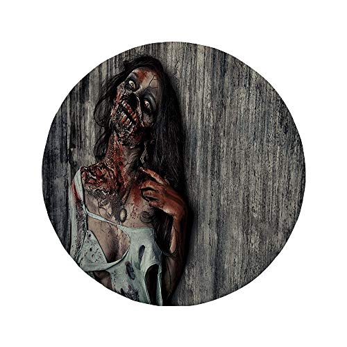 Non-Slip Rubber Round Mouse Pad,Zombie Decor,Angry Dead Woman Sacrifice Fantasy Mystic Night Halloween Image Decorative,Dark Taupe Peach Red,7.87