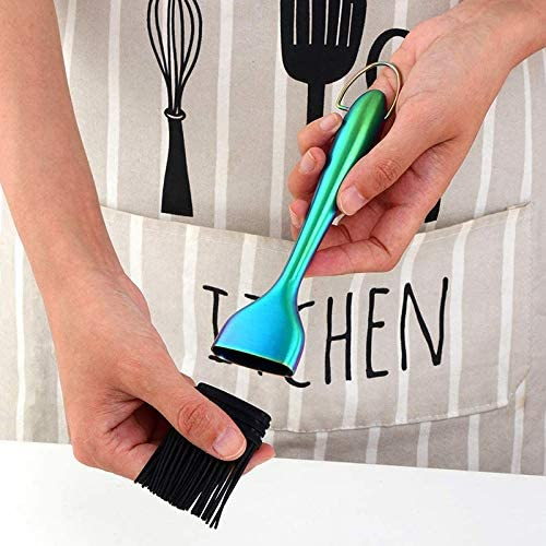 PQZATX 2 Packs of Barbecue Brush with 2 Packs of Spare Silicone Brush Heads Pastry Brush for Kitchen Cooking,Magic Color
