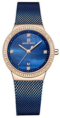 NAVIFORCE Brand Watch Women Fashion Casual Waterproof Quartz Ladies Dress Watches Mesh Belt Wrist Watches (Blue)
