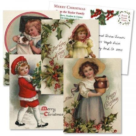 - Christmas Victorian Holiday Vintage Postcards (4 Designs) - Set of 24 5-1/4