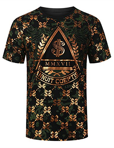 URBANCREWS Mens Hipster Hip Hop Money Foil Print T-shirt BLACKCOPPER, L