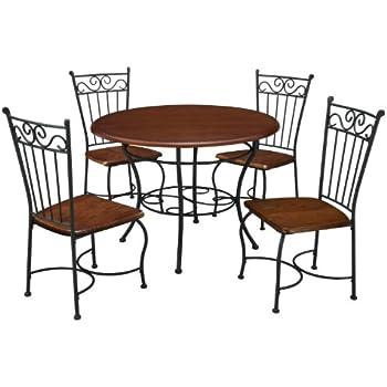 Dorel living 5 piece wood and metal cafe style dinette set for kitchen or living for Living rooms bedrooms dinettes