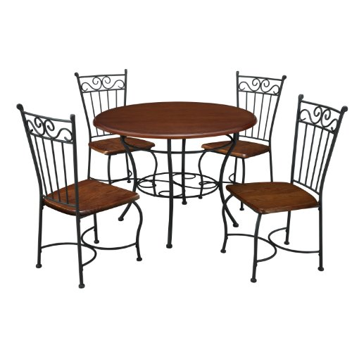 Dorel Living 5-Piece Wood and Metal Cafe-Style Dinette Set for Kitchen or Living Room