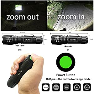 WAYTIM LED Flashlight High Lumens W1200 Tactical Flashlight,CREE XML T6 LED,6 Pcs Carabiner (Gift),Five Modes,with Clip,Zoomable, for Hiking,Camping,Hunting,Fishing,Exploration,Emergency(2 pack)