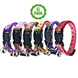 Bemix Pets Cat Collar with Bell, Set of 6, Solid Cat Collar, Gift Set Box, Made of Nylon, Colorful, for Small Dogs (6-Pack)