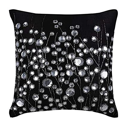 Amazon.com: Black Throw Pillows Cover for Couch, Rhinestones ...