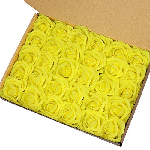 Marry Acting Artificial Flower Rose, 30pcs Real Touch Artificial Roses for DIY Bouquets Wedding Party Baby Shower Home Decor (Yellow) ()