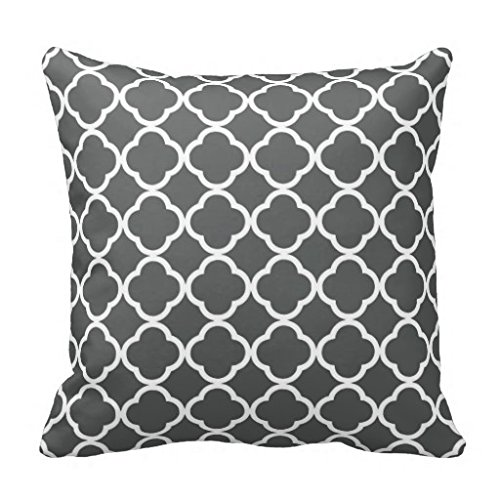 Comi Dark Gray Quatrefoil Lattice Home Decor Pillow Case Cushion Cover 18″ X 18″ 51nCm DK26L