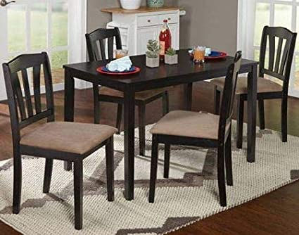 Dinette Sets For Small Spaces Dinning Room Table Set Five Piece Black Wood Rectangle
