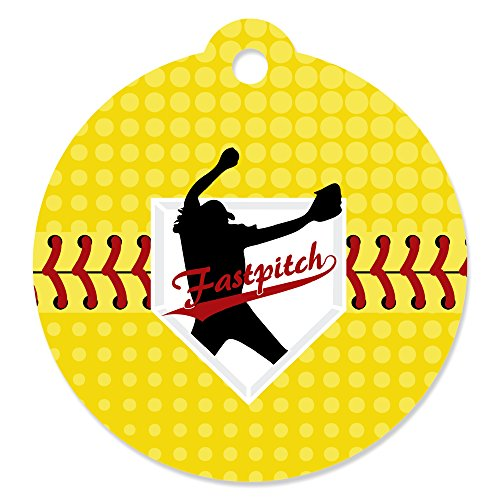 Grand Slam - Fastpitch Softball - Birthday Party or Baby Shower Favor Gift Tags (Set of 20)
