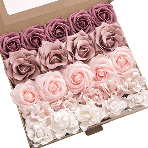 Ling's moment Artificial Flowers Combo Realistic Fake Roses with Stem for DIY Wedding Bouquets Centerpieces Floral Arrangements Decorations (Shabby Dusty Rose)
