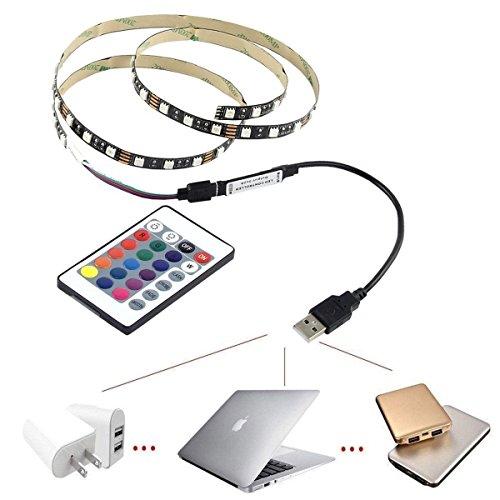 10ft LED Strip RGB Color 5V USB Powered with RemoteTV Backlight Bias Lighting for HDTV/Laptop/Desktop