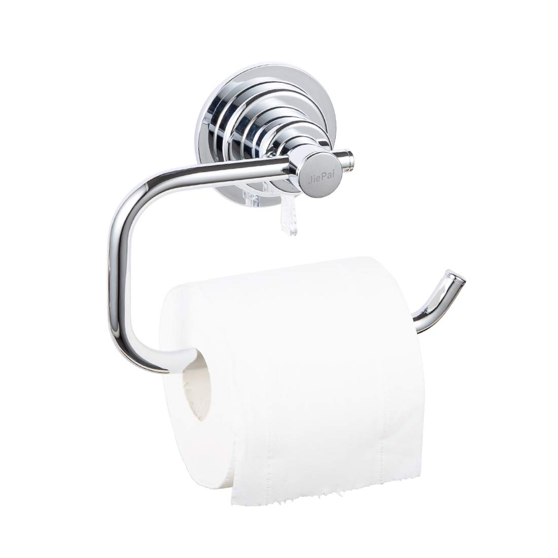JIEPAI Suction Cup Pater Holder,Powerful Vacuum Suction Cup Toilet Paper Roll Holder,Wall Mount Towel/Tissue Rack for Bathroom & Kitchen-Drill Free,Chrome