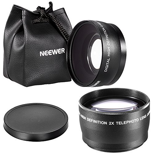 Neewer Digital 55mm 2X Telephoto lens + 55mm Macro Wide Angle Lens 0.45X High Definition For Sony DSLR A230 A350 A300 A330 A500 A700 A900 A100 by Neewer