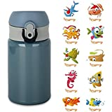 Housavvy Baby Vacuum Insulated Stainless Steel Bottle w/ Sticker Decal - 10 Oz - Blue