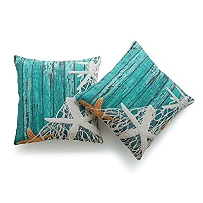 Hofdeco Set of 2Pcs Decorative Throw Pillow Cases Nautical Coastal Starfish Netting Beach Wood Indoor Outdoor HEAVY WEIGHT FABRIC Cushion Covers 18x18 Inches