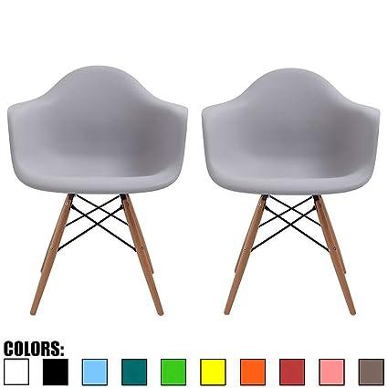Amazon Com 2xhome Set Of Two 2 Light Gray Plastic Armchair